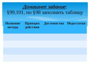 Домашнее задание: §99,101, по §98 заполнить таблицу Название метода Принцип д
