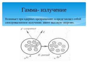 Гамма- излучение Возникает при ядерных превращениях и представляет собой элек