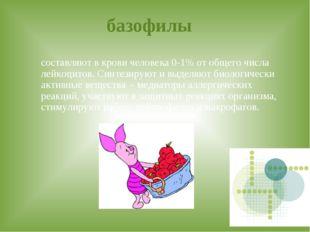 базофилы составляют в крови человека 0-1% от общего числа лейкоцитов. Синтез