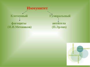 Иммунитет Клеточный Гуморальный фагоциты антитела (И.И.Мечников) (П.Эрлих)