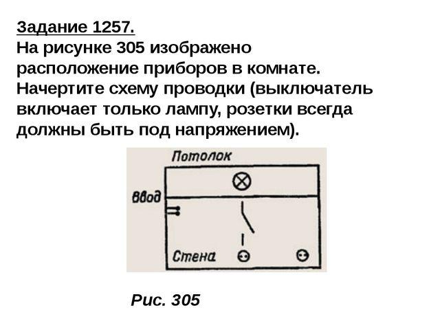 Задание 1257. На рисунке 305 изображено расположение приборов в комнате. Наче...
