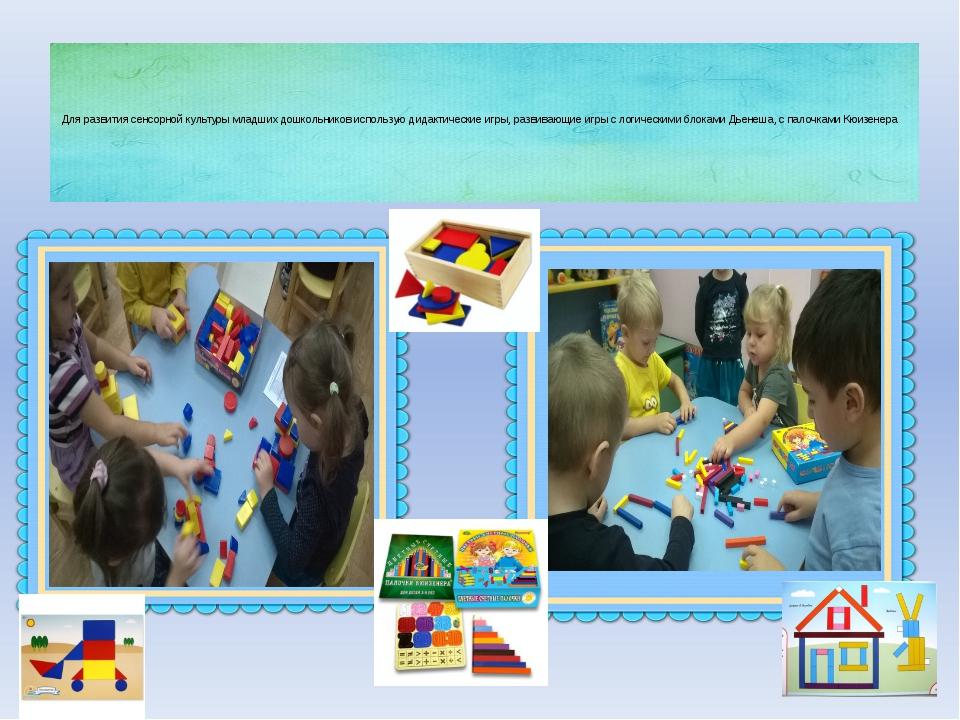 Для развития сенсорной культуры младших дошкольников использую дидактические...