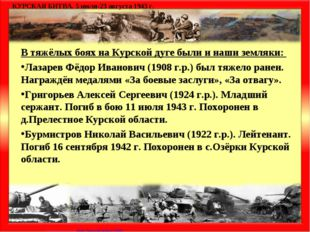 В тяжёлых боях на Курской дуге были и наши земляки: Лазарев Фёдор Иванович (