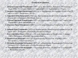 Погибли на фронте 1. Андреев Александр Михайлович (1923 г.р.) д. Михайловка.