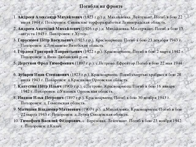 Погибли на фронте 1. Андреев Александр Михайлович (1923 г.р.) д. Михайловка....