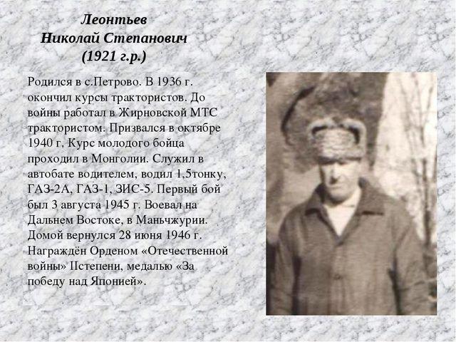 Родился в с.Петрово. В 1936 г. окончил курсы трактористов. До войны работал в...