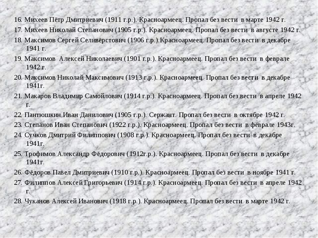16. Михеев Пётр Дмитриевич (1911 г.р.). Красноармеец. Пропал без вести в мар...