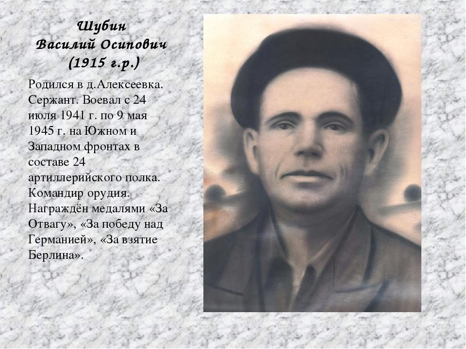 Шубин Василий Осипович (1915 г.р.) Родился в д.Алексеевка. Сержант. Воевал с...
