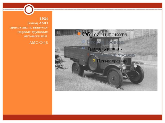 1924 Завод АМО приступил к выпуску первых грузовых автомобилей АМО-Ф-15