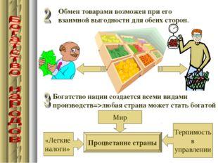 Обмен товарами возможен при его взаимной выгодности для обеих сторон. Богатст