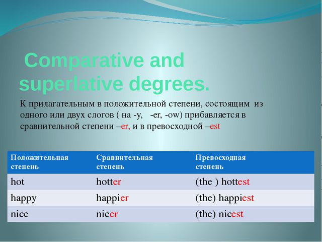 Comparative and superlative degrees. К прилагательным в положительной степен...