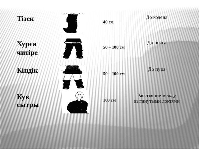 Тiзек 40 см До колена Хурға читiре 50 – 100 см До пояса Кiндiк 50 – 100 см Д...
