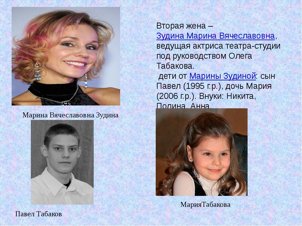 Вторая жена –Зудина Марина Вячеславовна, ведущая актриса театра-студии под р...