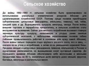 Сельское хозяйство До войны 1992—1993 гг. сельское хозяйство было ориентирова