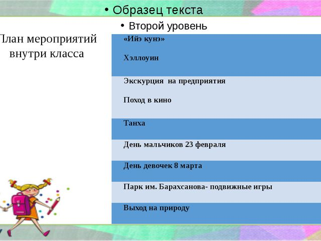План мероприятий внутри класса «Ийэкунэ» Хэллоуин Экскурцияна предприятия Пох...