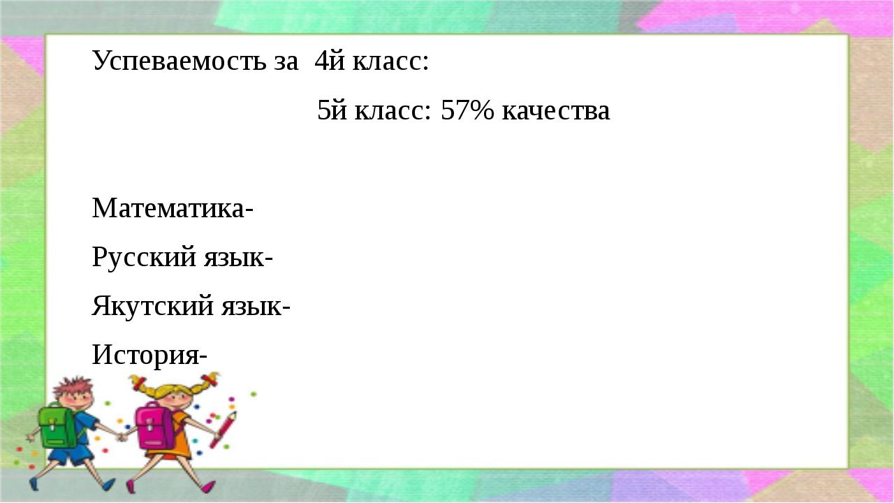 Успеваемость за 4й класс: 5й класс: 57% качества Математика- Русский язык- Як...