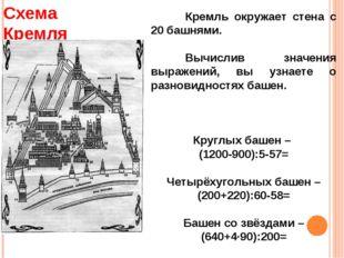 Кремль окружает стена с 20 башнями. Вычислив значения выражений, вы узнаете