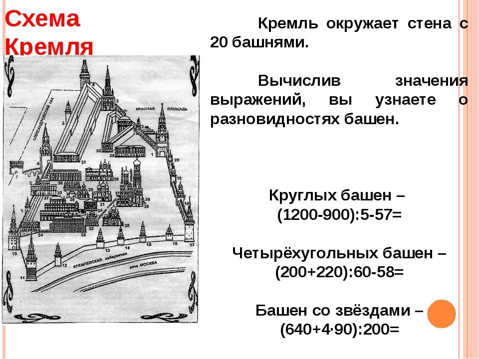 Кремль окружает стена с 20 башнями. Вычислив значения выражений, вы узнаете...