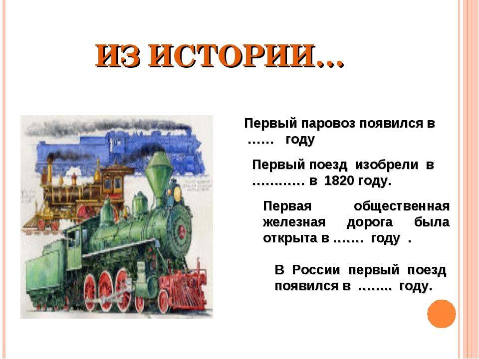 ИЗ ИСТОРИИ… Первый паровоз появился в …… году Первый поезд изобрели в ………… в...