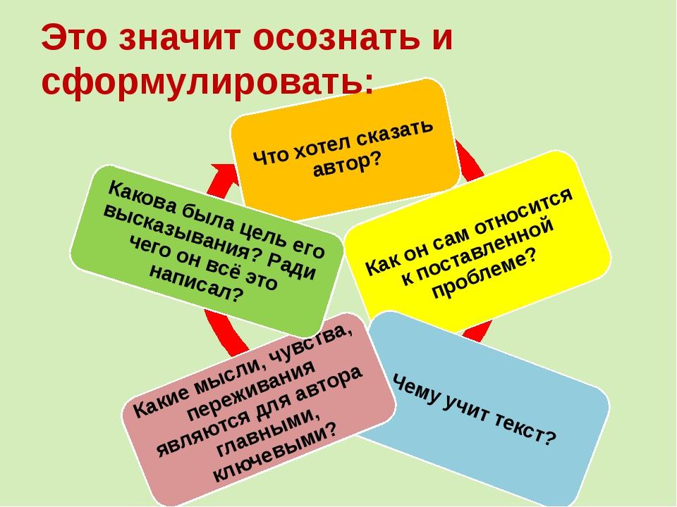 Это значит осознать и сформулировать: