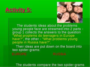 Activity 5: The students ideas about the problems young people face are strea