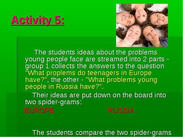 Activity 5: The students ideas about the problems young people face are strea...