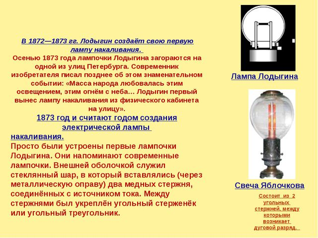 В 1872—1873 гг. Лодыгин создаёт свою первую лампу накаливания. Осенью 1873 г...