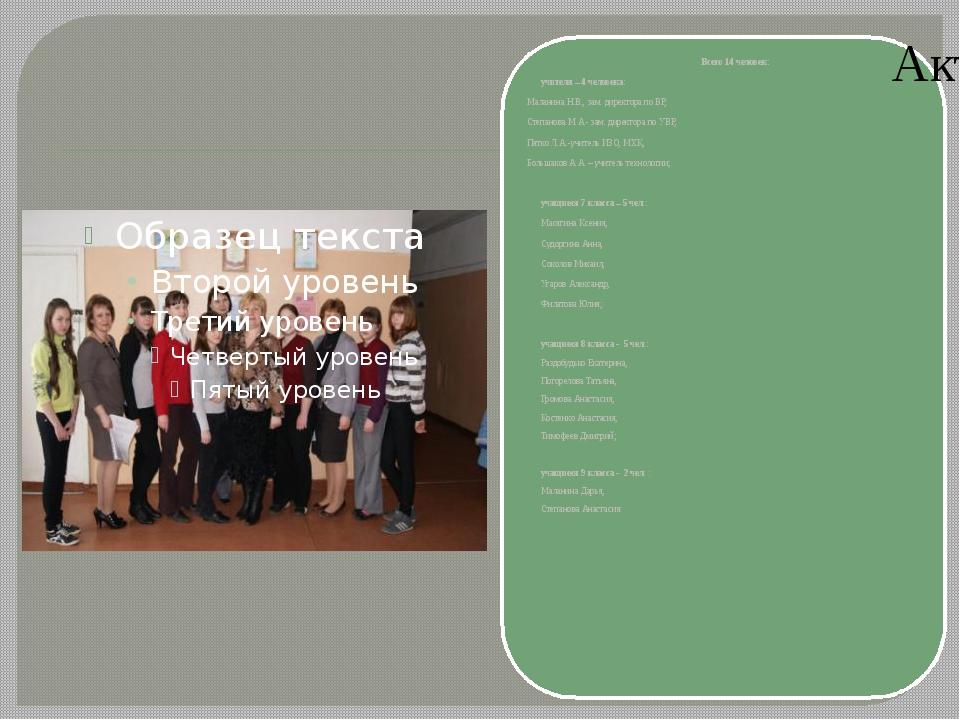 Всего 14 человек: учителя – 4 человека: Маланина Н.В., зам. директора по ВР,...