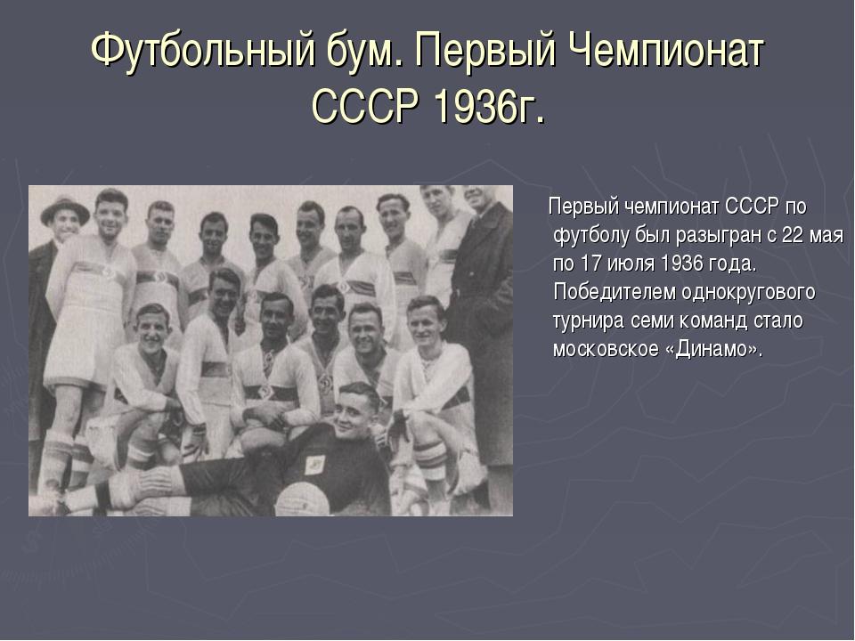 Футбольный бум. Первый Чемпионат СССР 1936г. Первый чемпионат СССР по футболу...