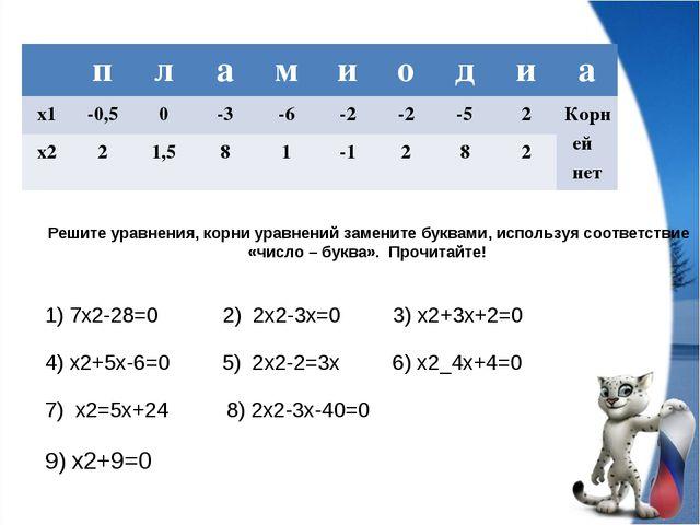 Решите уравнения, корни уравнений замените буквами, используя соответствие «ч...