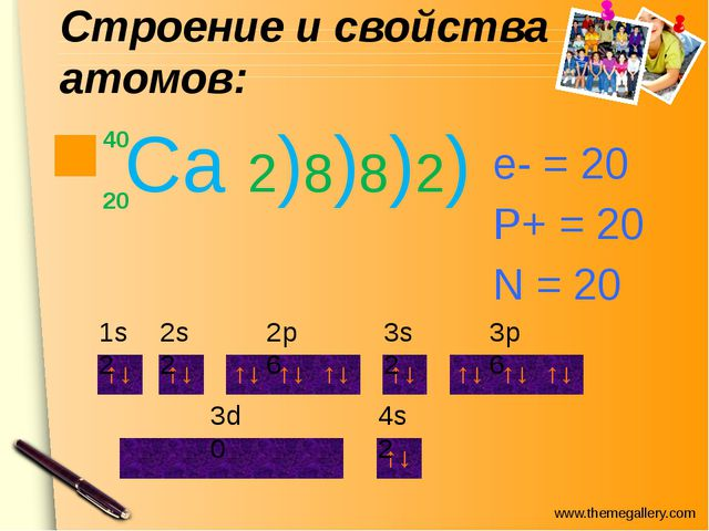 Строение и свойства атомов: Ca 2)8)8)2) 40 20 е- = 20 P+ = 20 N = 20 1s2 2s2...