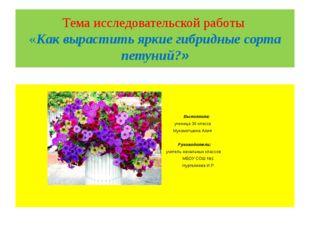 Тема исследовательской работы «Как вырастить яркие гибридные сорта петуний?»