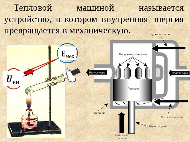 Тепловой машиной называется устройство, в котором внутренняя энергия превраща...