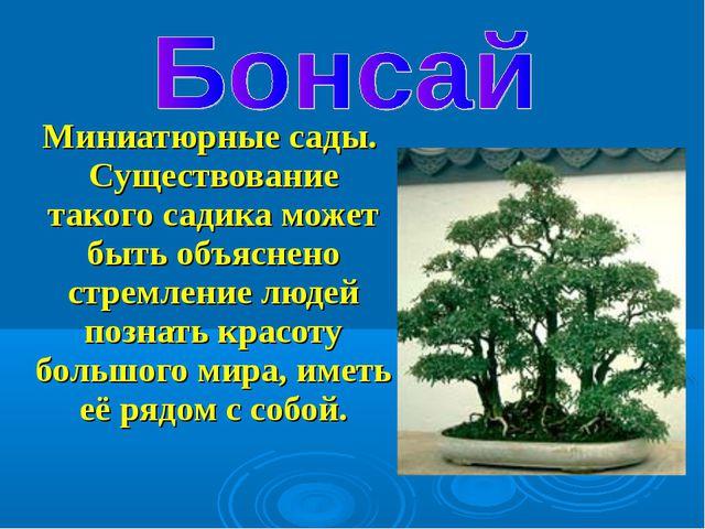 Миниатюрные сады. Существование такого садика может быть объяснено стремлени...