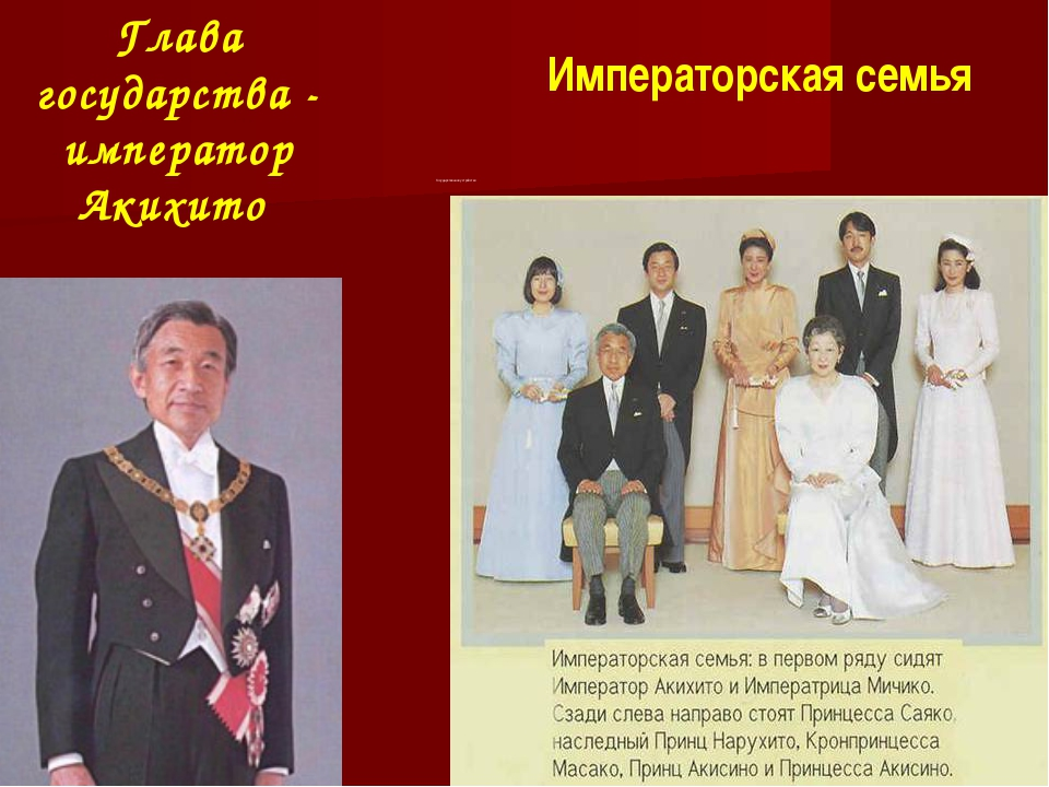 Глава государства - император Акихито Государственное устройство Императорска...