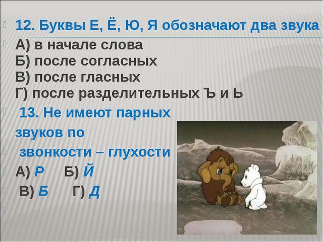 12. Буквы Е, Ё, Ю, Я обозначают два звука А) в начале слова Б) после согласны...