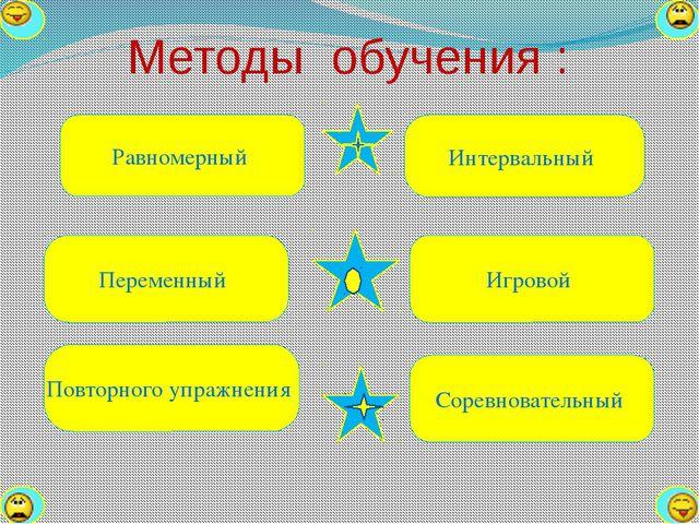 Методы обучения : Равномерный Переменный Повторного упражнения Интервальный И...