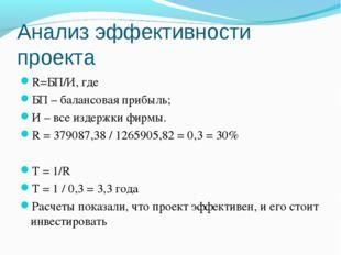 Анализ эффективности проекта R=БП/И, где БП – балансовая прибыль; И – все изд