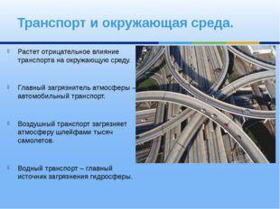 Транспорт и окружающая среда. Растет отрицательное влияние транспорта на окру