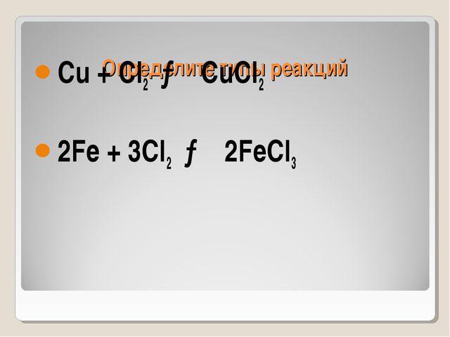 Определите типы реакций Cu + CI2 → CuCI2 2Fe + 3CI2 → 2FeCI3