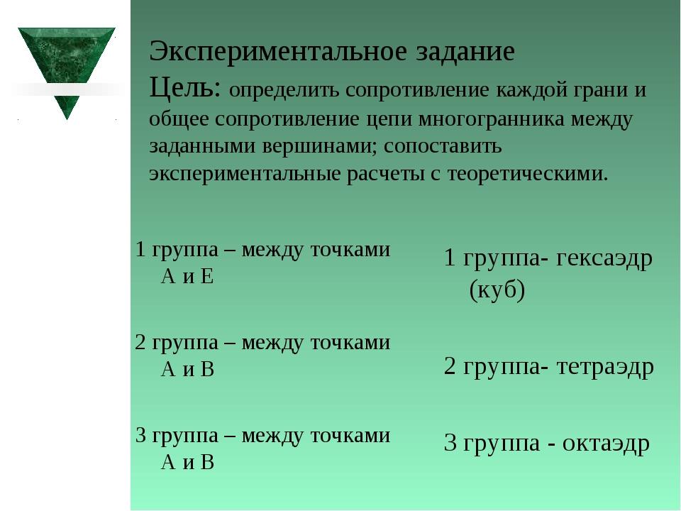 Экспериментальное задание Цель: определить сопротивление каждой грани и обще...