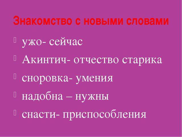 Знакомство с новыми словами ужо- сейчас Акинтич- отчество старика сноровка- у...