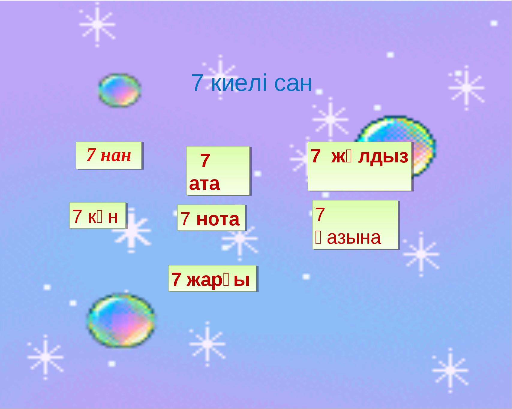 7 киелі сан 7+1= 7 нан 7+2= 7 ата 7+3= 7 жұлдыз 7+4 7 күн 7+5 7 нота 7+6 7 қ...