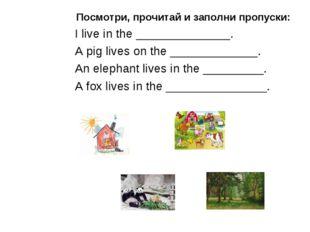Посмотри, прочитай и заполни пропуски: I live in the ______________. A pig li