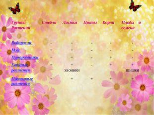 Группы Растений Стебли Листья Цветы Корни Плоды и семена Водоросли - - - - -