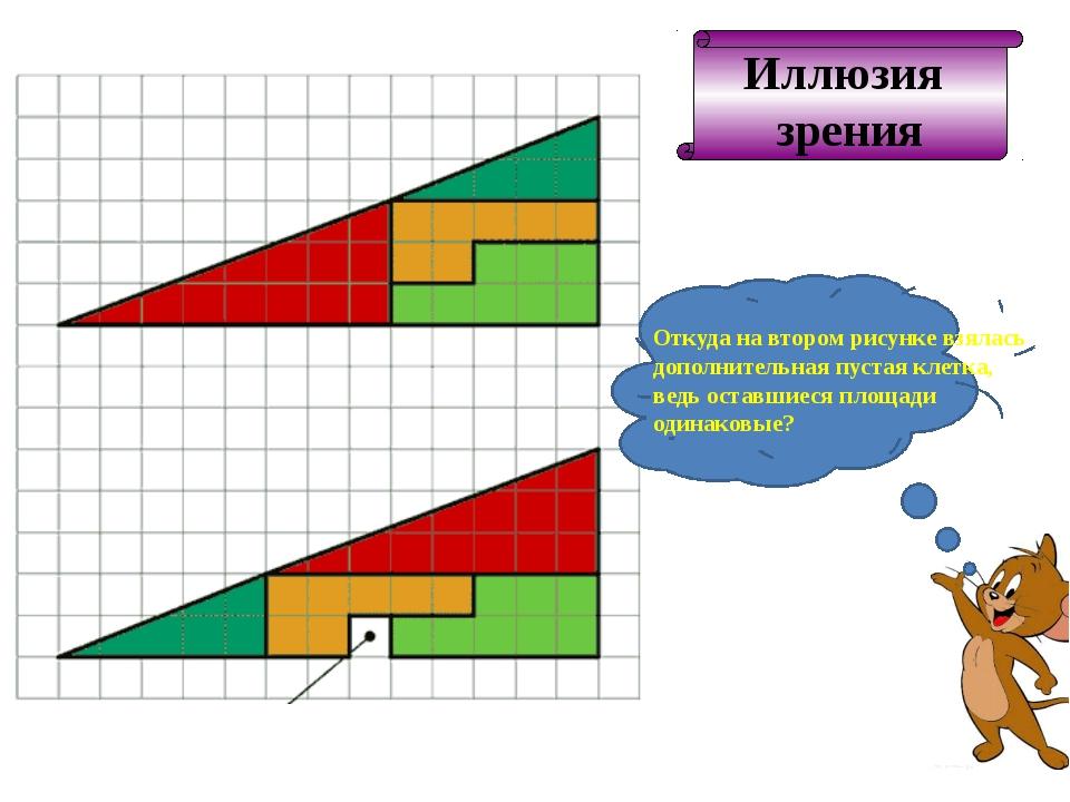 Иллюзия зрения Откуда на втором рисунке взялась дополнительная пустая клетка,...