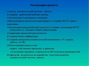 Реализация проекта. 1.Анализ воспитательной системы школы. 2.Создание проблем