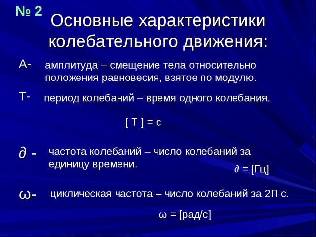 Основные характеристики колебательного движения: А- Т- ∂ - ω- амплитуда – сме...