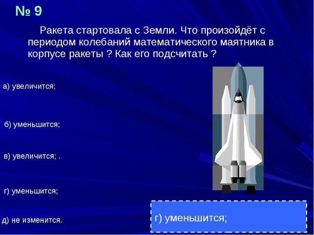 Ракета стартовала с Земли. Что произойдёт с периодом колебаний математическо...