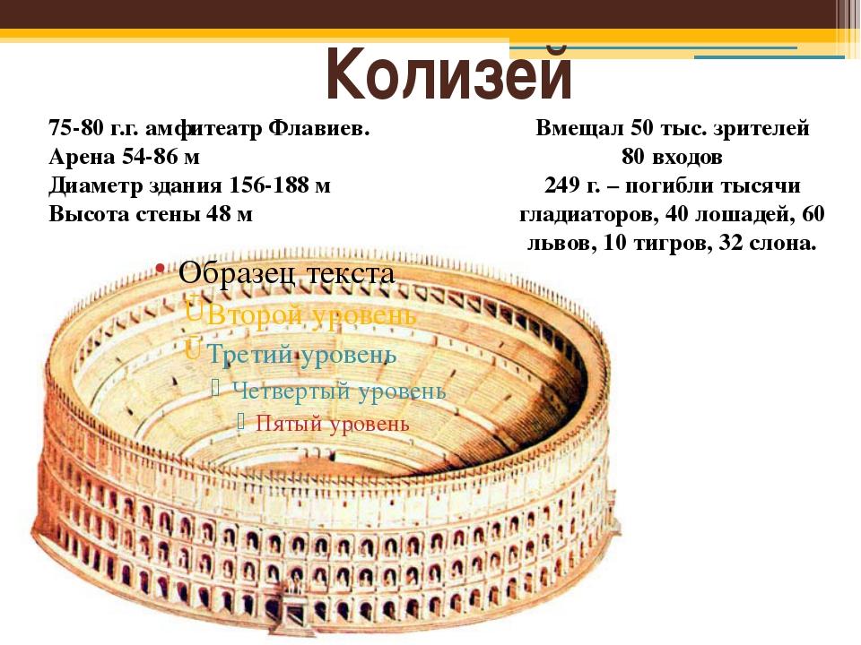 Колизей 75-80 г.г. амфитеатр Флавиев. Арена 54-86 м Диаметр здания 156-188 м...